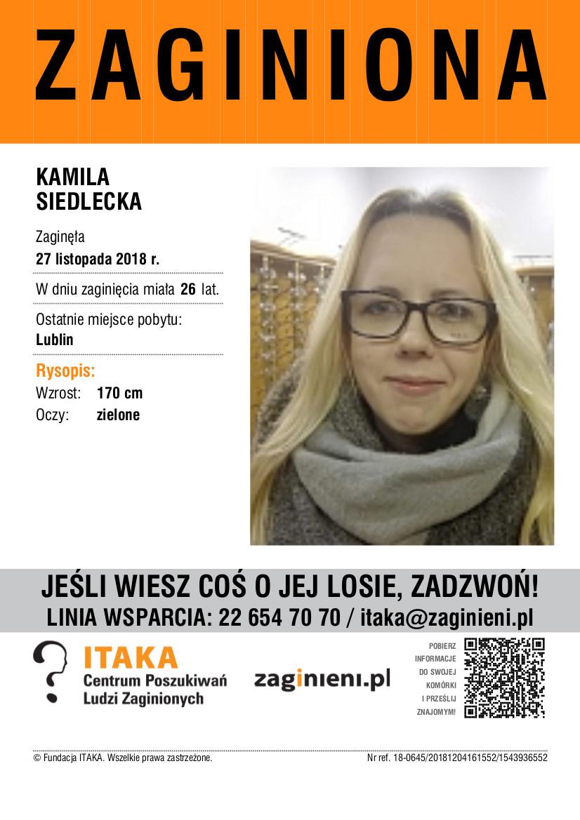 Osoba zaginiona: Kamila Siedlecka